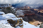 A clearing storm reveals a fresh dusting of snow at the Grand Canyon.