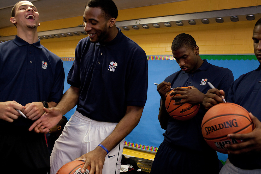 ....{June 27, 2012} {4:00pm} -- New York, NY, U.S.A.Duke basketball star Austin Rivers laughs with potential draft players Andre Drummond, Michael Kidd-Gilchrist and Dion Waiters at the Dunlevy Milbank Boys & Girls Club in Harlem before the NBA draft Thursday in Manhattan, New York on June 27, 2012. .