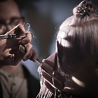 02/12/12 West Chester PA: RICHARD NICHOLAS studios Hairstylist Juaquin Camron working on an unknown model hair during Open Chair 11 Sunday, Feb. 12, 2012 at The Note in West Chester Pennsylvania.<br /> <br /> Special to Monsterphoto/SAQUAN STIMPSON
