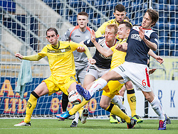 Falkirk's Will Vaulks shoots.<br /> Falkirk 3 v 1 Queen of the South, Scottish Premiership play-off quarter-final second leg played today at the Falkirk Stadium.