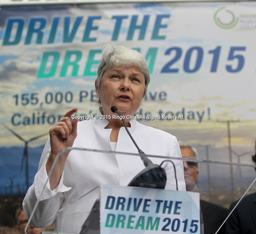 Christine Kehoe, executive director of California Plug-In Electric Vehicle Collaborative speaks in Drive the Dream 2015 event at Creative Artists Agency in Los Angeles October 15, 2015.  (Photo by Ringo Chiu/PHOTOFORMULA.com)