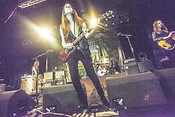 Lead vocalist guitarist Danielle Haim with the band Haim.<br /> Haim play on stage at Glasgow's O2 ABC on Sauchiehall Street.