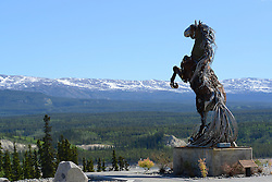 This metal sculpture overlooks the City of Whitehorse.