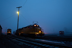 """Trains in Truckee 1"" - These Union Pacific trains were photographed in the early morning in Downtown Truckee, CA."