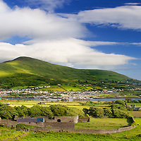 sunny Cahersiveen Panorama with view on Bente Mountain and River Ferther / ch204