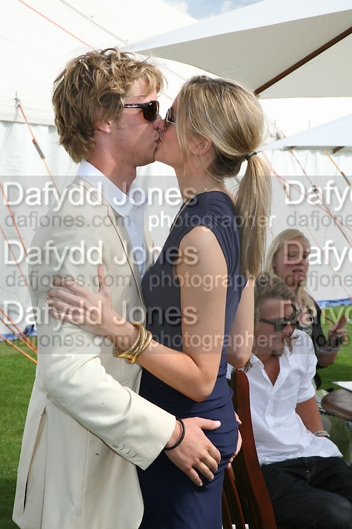 Sam Branson and  Isabella Anstruther-Gough-Calthorpe, Cartier International Polo. Guards Polo Club. Windsor Great Park. 29 July 2007.  -DO NOT ARCHIVE-© Copyright Photograph by Dafydd Jones. 248 Clapham Rd. London SW9 0PZ. Tel 0207 820 0771. www.dafjones.com.