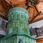This 1890 stove, in the Abbot's Lower Chambers in the David Building of St. George's Abbey, is an imitation of one from the Furstenburg of Meran; but the original wood ceiling above was installed back in 1508-1516. St. George's Abbey (Kloster Sankt Georgen) was founded around 1007 as a Benedictine monastery in Stein am Rhein village, on the banks of the Rhine at the western end of Lake Constance. The fascinating Klostermuseum is one of Switzerland's most important historic buildings from the late Middle Ages and early Renaissance, built in the 1300s to 1500s.