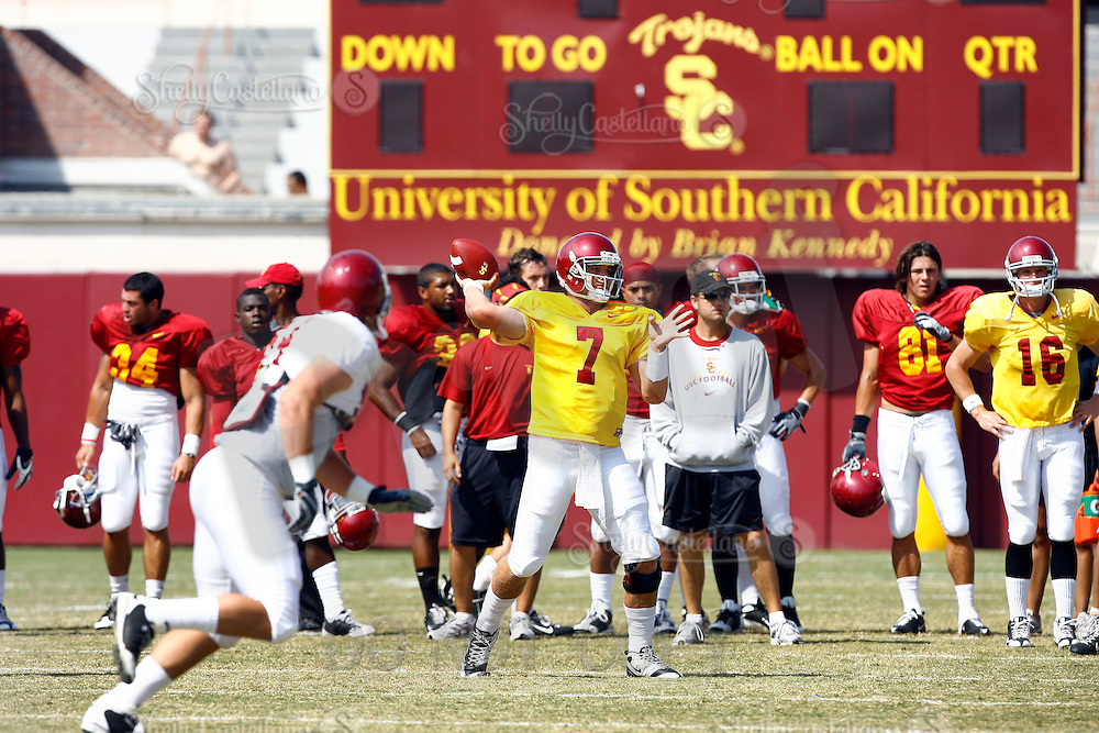 22 August 2009:  QB #7 Matt Barkley during the USC Trojans Pac-10 College Football team wrapped up Fall camp on Saturday infront of 1000 fans. The students start fall semester next week and prepare for their home opener in September.