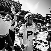 The connections of Ria Antonia, ridden by Javier Castellano celebrate a win via disqualification in the Breeders' Cup Juvenile Fillies on November 2, 2013 at Santa Anita Park in Arcadia, California during the 30th running of the Breeders' Cup.(Alex Evers/ Eclipse Sportswire)