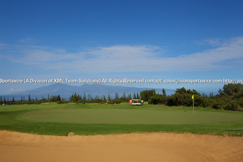 January 08 2016: Early morning view of green number three during the Second Round of the Hyundai Tournament of Champions at Kapalua Plantation Course on Maui, HI. (Photo by Aric Becker/Icon Sportswire)
