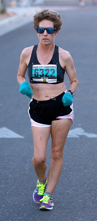gbs101616p/SPORTS -- Race Walker Mandy Owens of Roswell, wins the women's 5K walk during the Duke City Marathon on Sunday, October 16, 2016. (Greg Sorber/Albuquerque Journal)