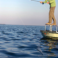 Islamorada; Steve Updegraff casts out on a flat while flyfishing in the Florida Keys. Flyfishing in the Florida Keys and Everglades National Park...Photo by James Branaman for St. Petersburg Times/Bay Magazine