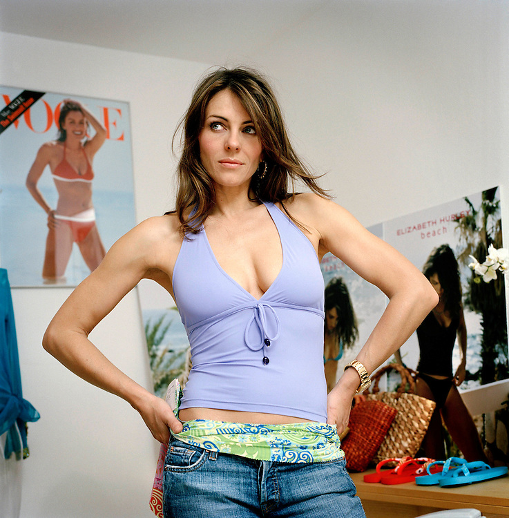 Model, actress and fashion designer Liz Hurley in her ...