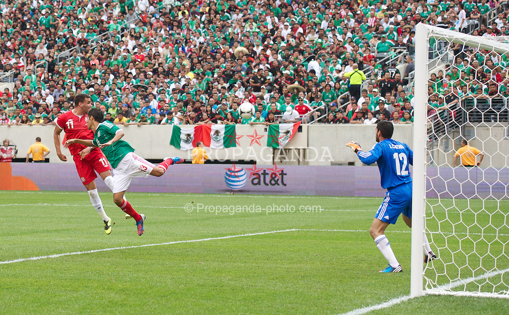 EAST RUTHERFORD, NEW JERSEY, USA - Sunday, May 27, 2012: Wales' Hal Robson-Kanu sees his header go wode against Mexico during an International Friendly at the MetLife Stadium. (Pic by David Rawcliffe/Propaganda)