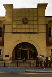 "Stratford Magistrates Court, London, July 16th 2015. Allegedly captured on video pushing a black Frenchman Souleymane Sylla off a train and chanting ""We're racist, we're racist and that's the way we like it"", Chelsea supporters  William Simpson, Jordan Munday, Joshua Parsons, Dean Callis and Richard Barklie appear at Stratford Magistrates Court to appeal against travel bans aimed at preventing them from attending football games. PICTURED: General view of Stratford Magistrates Court"