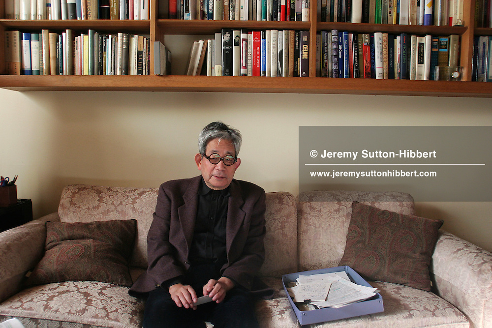 Kenzaburo Oe, Japanese author/essayist/novelist. Born 1935, winner of 1994 Nobel Prize for Literature. Father of Hikari Oe, composer. Photographed at his home in Tokyo, Japan.