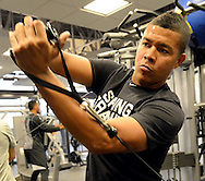 GLENDALE, ARIZONA - FEBRUARY 18:  Jose Quintana #62 of the Chicago White Sox works out in the weight room during spring training workouts on February 18, 2017 at Camelback Ranch in Glendale Arizona.  (Photo by Ron Vesely)   Subject:  Jose Quintana