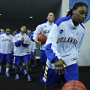Delaware Guard Akeema Richards (15) leads No. 6 Delaware onto the floor prior to a 2013 Round Two Women's NCAA tournament game against No. 3 North Carolina Tuesday, March 26, 2013, at the Bob Carpenter Center in Newark Delaware.
