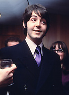 Beatles 1965 Paul McCartney at a press conference at the Royal Garden Hotel, London to publicise the Leicester Arts Festival