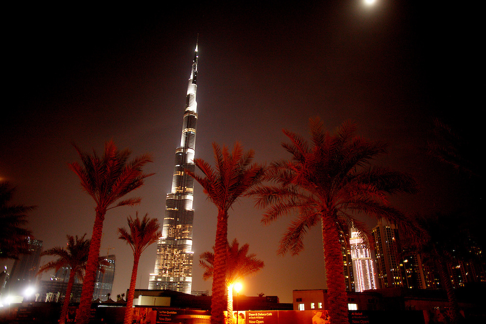Burj Khalifa, formerly known as Burj Dubai. The tallest man-made structure ever built, at 828 m (2,717 ft). Construction began on 21 September 2004, with the exterior of the structure completed on 1 October 2009. The building officially opened on 4 January 2010..Photo by: Eivind H. Natvig/MOMENT