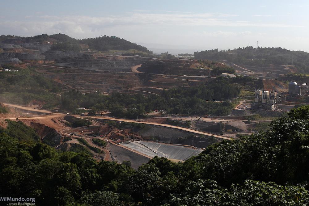Barrick and Goldcorp's Pueblo Viejo gold mine seen northeast from the Cerro del Chivo peak. Cotuí, Sánchez Ramírez, Dominican Republic. April 2012.