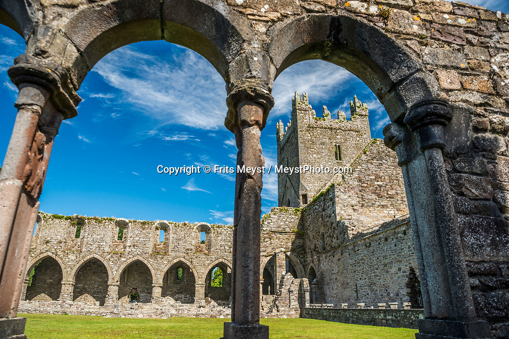 Jerpoint, Kilkenny, Southern Ireland, August 2016.  Jerpoint Abbey is a ruined Cistercian abbey, founded in the second half of the 12th century, near Thomastown, County Kilkenny, Ireland. It is located 2.5 km south west from Thomastown A coastal road trip from Kilkenny to Cork via Wexford and Waterford.  Photo by Frits Meyst / MeystPhoto.com