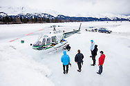 Preparing for an Alaskan Helisurf trip with Chugach Powder Guides in Seward, Alaska.