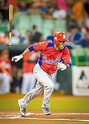 SAN JUAN, PUERTO RICO FEBRUARY 3: A player for Puerto Rico gets a hit during the game against Mexico on February 3, 2015 in San Juan, Puerto Rico at Hiram Bithorn Stadium(Photo by Jean Fruth)