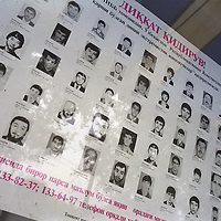 """A poster shows the faces and details of """"Wanted Criminals"""", wanted by the polie for a variety of crimes in Tashkent, one of the cities of the old Silk Road. Uzbekistan is known as a hard line state, with little toleration of anti-social behaviour."""