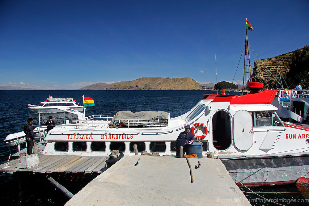 South America, Bolivia, Lake Titicaca. Hydrofoil boat of Lake Titicaca for tourism.
