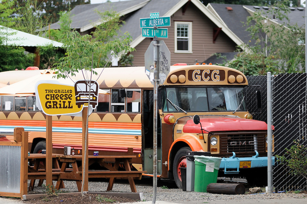 old school bus, off Alberta Street, Portland, Oregon, USA