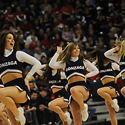Cheerleaders keep the crowd going during a women's game at McCarthey Athletic Center in February. (Photo by Rajah Bose)