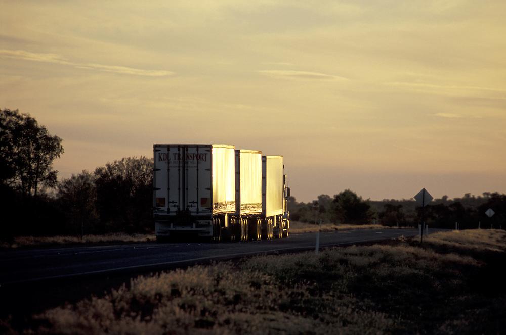 Roadtrain.Stuart Highway at Stuart Well.south of Alice Springs.Northern Territory.Australia