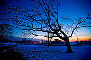 The sun sets ending a winter day in Madison, Wisconsin. .