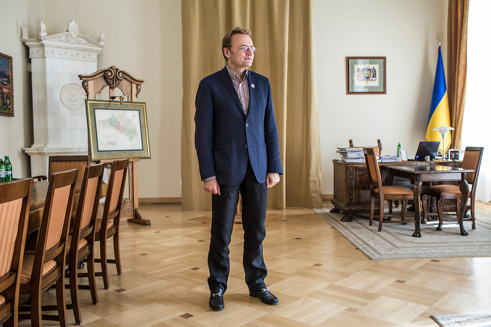 LVIV, UKRAINE - SEPTEMBER 16, 2015: Andriy Sadovyy, the mayor of Lviv, poses for a portrait in his office in Lviv, Ukraine. Sadovyy is head of the Samopomich political party, which placed third in the most recent parliamentary elections. CREDIT: Brendan Hoffman for The New York Times