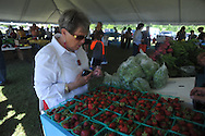 Marge McCauley looks over strawberries as Oxford City Market opens on West Oxford Loop in Oxford, Miss. on Tuesday, May 14, 2013.