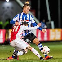 AMSTERDAM - Jong Ajax - FC Eindhoven , Voetbal , Jupiler league , Seizoen 2016/2017 , Sportpark de Toekomst , 24-02-2017 , Jong Ajax speler Noussair Mazraoui (l) in duel met Eindhoven speler Thomas Horsten (r)
