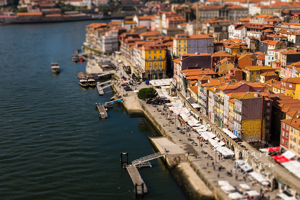 Lens tilt and shift manipulated photo of Porto, Portugal