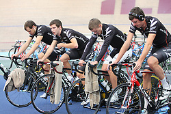 Marc Ryan, left, Aaron Gate, Peter Latham and Sam Bewley at training after being named in the  team for the UCI World Track Cycling Championships, Invercargill Velodrome, Invercargill, New Zealand, Wednesday, March 21 2012. Credit:SNPA / Dianne Manson