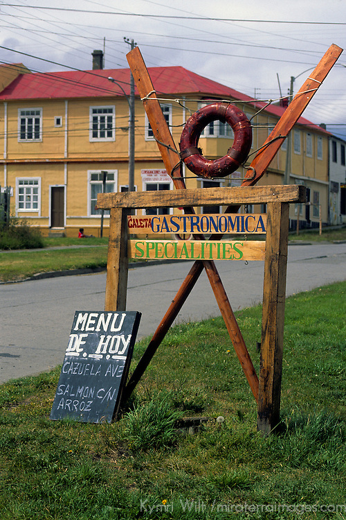 Americas, South America, Chile, Puerto Natales. Restaurant menu reflecting the day's fresh catch.