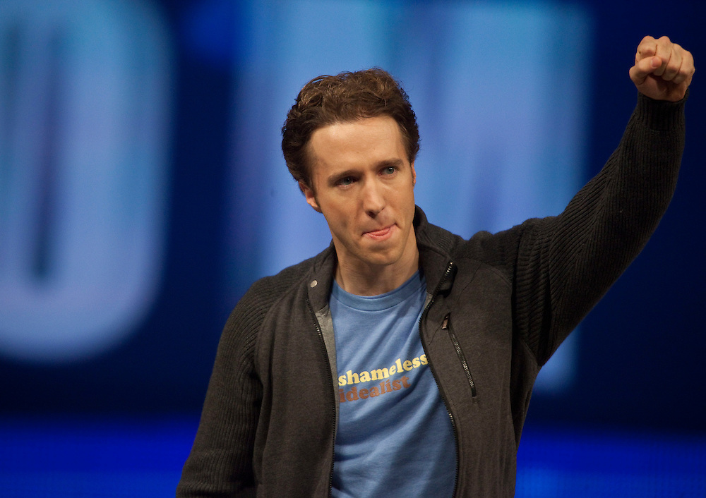 Craig Kielburger founder of the charity Free the Children speaks at the charity's We Day celebrations in Kitchener, Ontario, February 17, 2011. We Day was started to celebrate the power of young people. <br /> The Canadian Press/GEOFF ROBINS