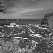 Cape Meares Northwest Overlook - Oregon Coast - HDR - Black & White