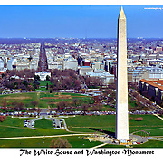 Aerial view of Washington Monument and The White House and the Eclipse, national landmarks.