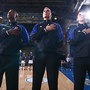OFFICIALS #53 STEVEN PERRY, #36 TYLER RICKS AND  #75 ASHLEY MOYER-GLEICH place theirs hands over the heart during the playing of the National Anthem prior a NBA D-league regular season basketball game between the Delaware 87ers and the Grand Rapids Drive (Detroit Pistons) Tuesday. Nov. 29, 2016 at The Bob Carpenter Sports Convocation Center in Newark, DEL.