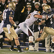 Backup quarterback Kriss Proctor ran 20 times for a career-high 201 yards and a touchdown on a brisk Saturday afternoon at Marine Corps Memorial Stadium in Annapolis Maryland...Navy improves to 7-3, Navy will return home November 20 to face Arkansas State.