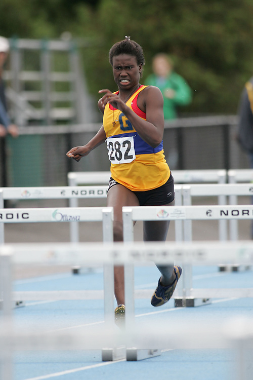 Josephine Sindani competing in the heptathlon hurdles at the 2007 Ontario Legion Track and Field Championships. The event was held in Ottawa on July 20 and 21.