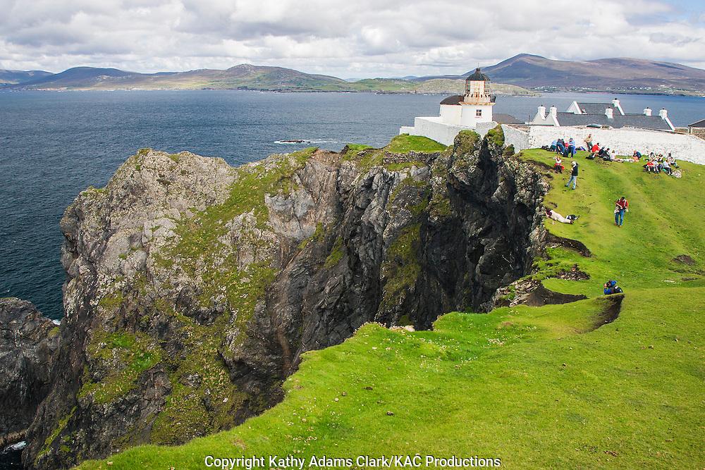 Clare Island lighthouse off coast of western Ireland.