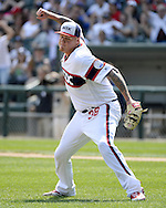 CHICAGO - APRIL 24:  Mat Latos #38 of the Chicago White Sox reacts after recording the third out during the game against the Texas Rangers on April 24, 2016 at U.S. Cellular Field in Chicago, Illinois.  The White Sox defeated the Rangers 4-1.  (Photo by Ron Vesely)   Subject: Mat Latos