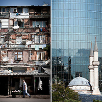 Left :<br /> Baku, Azerbaijan, 24 July 2012<br /> Nagorno-Karabakh war IDP (internal displaced people) settlement in Baku.<br /> <br /> Right:<br /> Baku, Azerbaijan, 26 July 2012<br /> View of a Turkish style mosque in front of the Flames towers.<br /> Photo: Ezequiel Scagnetti
