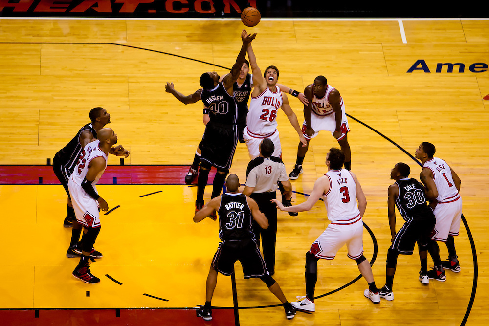 MIAMI, FL -- January 29, 2012 -- Miami's Udonis Haslem, left, battles Chicago's Kyle Korver for a jump ball during the Heat's 97-93 win over the Bulls at American Airlines Arena in Miami, Fla., on Sunday, January 29, 2012.  (Chip Litherland for ESPN the Magazine)